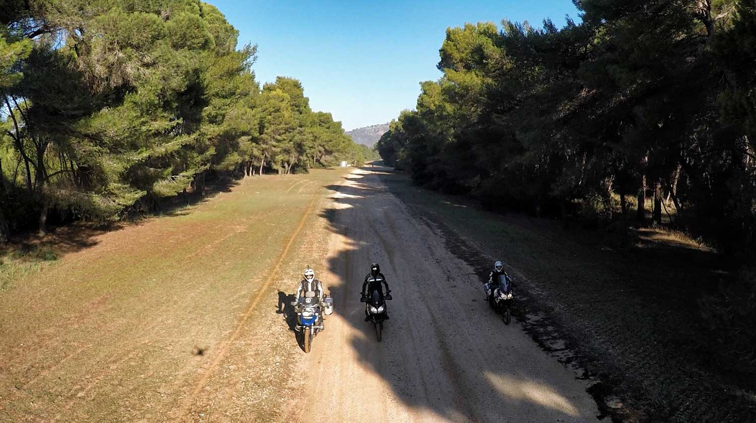 Motorcycles on Strofilia Forest